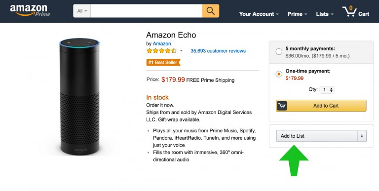 Add Products to Wishlist on Amazon
