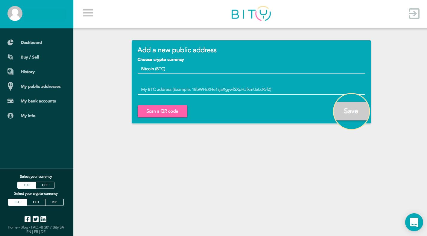 Bitcoin public address example